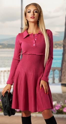Вязаное платье гофре № 4466