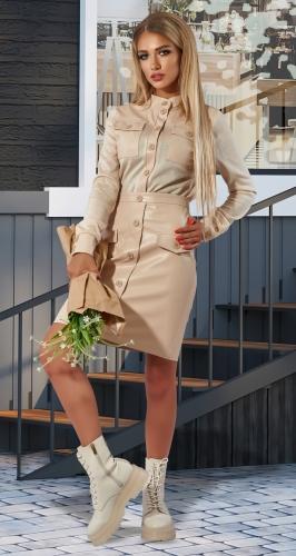 Стильный костюм рубашка + юбка № 4440