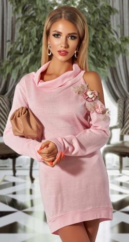 Платье-туника с шелковыми цветами и кружевом,№ 3826