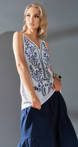 Комбинированное льняное платье