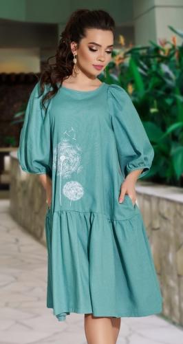 Свободное льняное платье с вышивкой № 42794