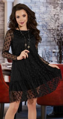 Свободное платье с сеточкой № 39273