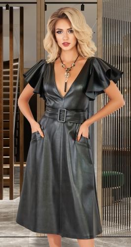 Стильное кожаное платье № 4493