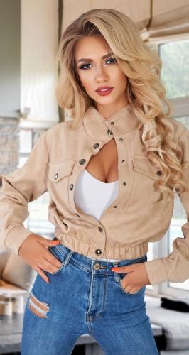 Короткая курточка из эко-замши № 44903