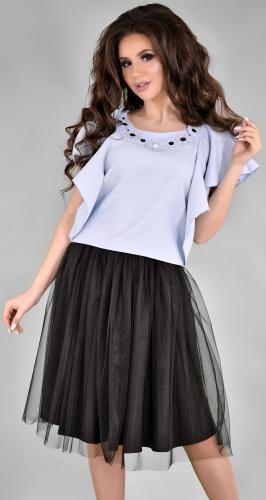 Модный голубо-черный комплект