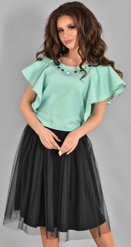 Модный мятно-черный комплект