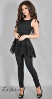 Роскошный брючный костюм № 3625L черный