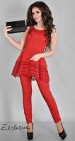 Роскошный брючный костюм № 3625L красный
