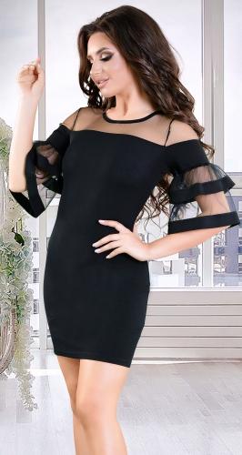 Элегантное черное коктейльное платье