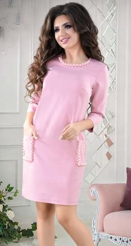 Стильное  платье цвета пудра №3834