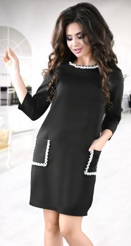Стильное  платье черного цвета №3834