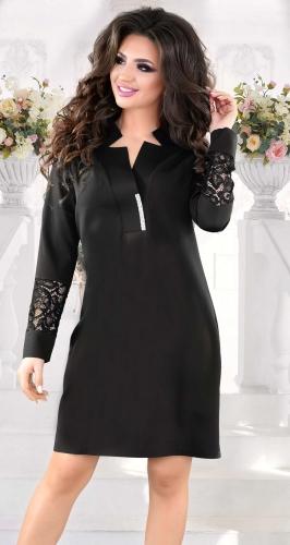Стильное  платье черного цвета с кристаллами