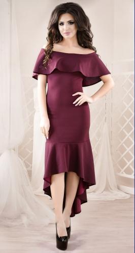 Роскошное вечернее платье цвета марсала